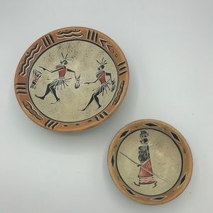 African carved soapstone trinket dishes set